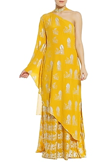Yellow Printed One Shoulder Asymmetrical Tunic with Palazzo Pants Set