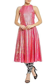 Fuschia Pink Printed Tunic with Black Pants by Masaba