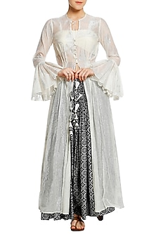 Ivory Printed Pleated Tunic with Black Pants and Bustier by Masaba