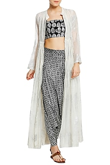 Ivory Printed Gathered Jacket with Black Drop Crotch Pants and Bustier by Masaba
