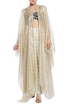 Ivory Printed Asymmetrical Cape with Pants and Black Bustier by Masaba