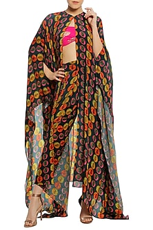 Multi-Coloured Printed Asymmetrical Cape with Dhoti Pants and Pink Bustier