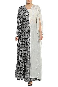 Black and White Half and Half Printed Kaftan with Lehenga Skirt