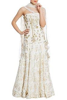 Ivory Embroidered Corset with Lehenga Set by Masaba