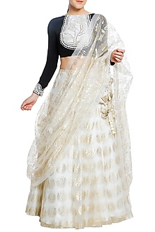 Black Embroidered Blouse with Ivory Printed Lehenga Set by Masaba