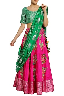 Fuschia Pink and Green Tulip Embroidered Lehenga Set by Masaba
