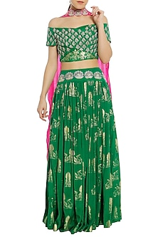 Green and Fuschia Pink Printed and Embroidered Lehenga Set by Masaba