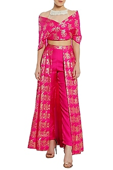 Fuschia Pink Printed Trouser Lehenga with Wrap Blouse by Masaba