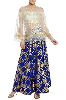 Blue Printed Lehenga with Ivory Blouse and Cape by Masaba