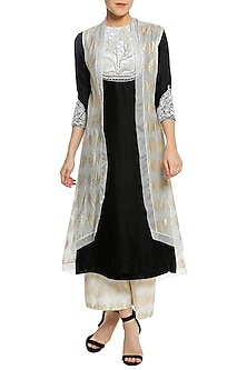 Monochrome Embroidered Kurta with Printed Palazzo Pants and Jacket by Masaba