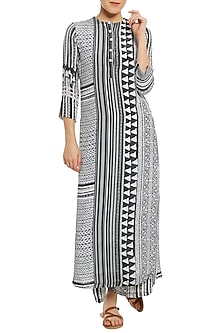 Black and White Printed Kurta with Palazzo Pants by Masaba
