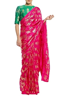 Fuschia Pink Printed Saree with Green Blouse Piece