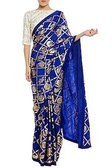 Blue Printed Saree with Ivory Blouse Piece