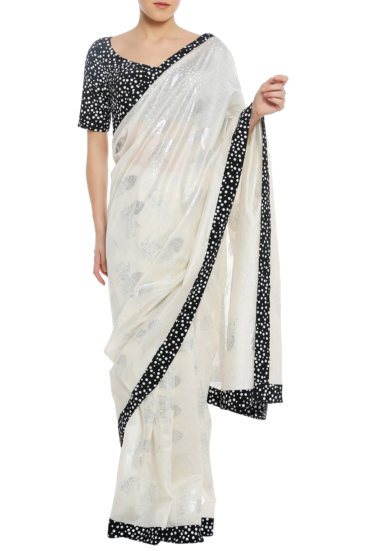 293ed581f2 Ivory printed saree with black blouse piece available only at Pernia's Pop  Up Shop.