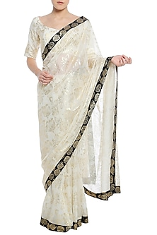 Ivory Printed Saree with Blouse Piece by Masaba