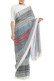 White Tribal Stripes Print Saree with Blouse Piece