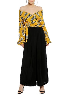 Yellow Off Shoulder Printed Wrap Top with Black Palazzo Pants