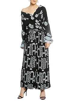 Black Off Shoulder Printed Wrap Top with Palazzo Pants