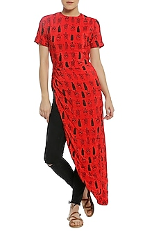 Red Asymmetrical Ruched Printed Top