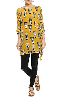 Yellow Ruched Printed Tunic