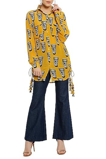 Yellow Printed Double Pocket Shirt by Masaba