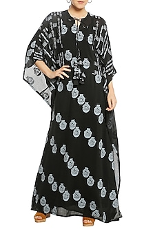 Black Printed Patchwork Kaftan by Masaba