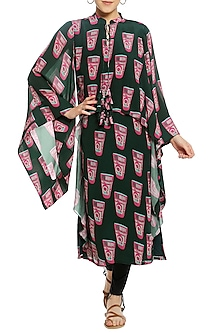Green Printed Cape Sleeves Tunic