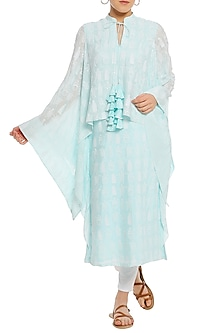 Ice Blue Printed Cape Sleeves Tunic