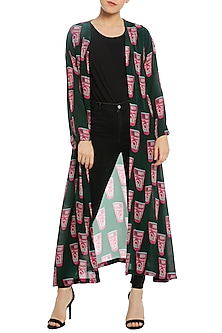Green Printed Front Open Jacket by Masaba