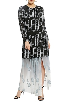 Black Ombre Printed Kurta with Drape Skirt