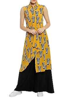 Yellow Printed Drape Tunic with Black Palazzo Pants by Masaba