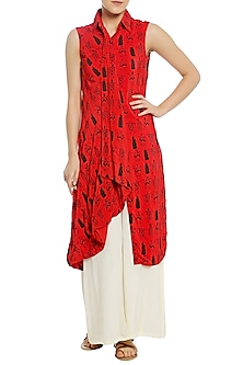 Red Printed Drape Tunic with White Palazzo Pants