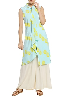 Ice Blue Printed Drape Tunic with White Palazzo Pants