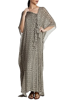 Grey Bird'S Eye Motif Pleated Kaftan