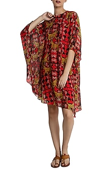 Red Tiger Lily Asymmetric Kaftan Dress