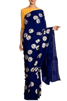 Blue Tribal Vase Print Saree with Blouse Piece