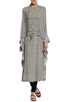 Black and White Birds Eye Print Cape Kurta