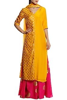 Canary Yellow Kalash Printed Kurta with Pink Palazzo Pants Set by Masaba