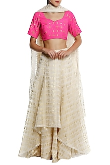 Pink Printed Blouse with Ivory High-Low Gold Leaf Foil Print Lehenga Set  by Masaba