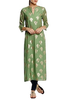 Mint Green Heritage Gold Fish Foil Printed Long Kurta