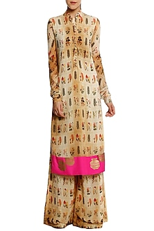 Beige Burning Garden Print Kurta with Palazzo Pants by Masaba
