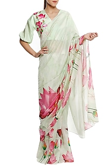 Mint Green Big Lotus Print Saree with Unstitched Blouse Piece
