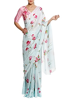 Aqua Blue Lotus Print Saree with Unstitched Blouse Piece