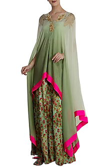 Mint Green Ombred Cape with Printed Skirt Set by Masaba