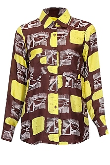 Brown and Yellow Line Horses Basic Shirt
