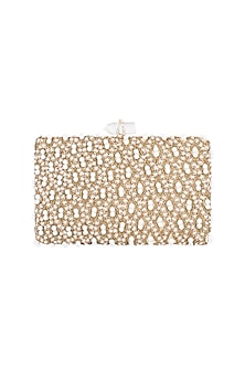 Gold Embroidered Pearl Rectangular Clutch by Malaga