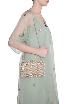 Gold Embroidered Pearl Rectangular Clutch