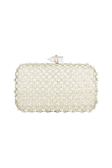 Gold Embroidered Rectangular Clutch by Malaga