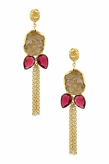 Gold Plated White Semi Precious Stone Earrings by Maira
