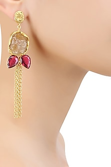 Gold Plated White Semi Precious Stone Earrings